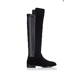 Wallis - Flat black stretch high boot
