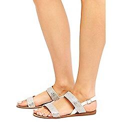 Wallis - White diamante flat sandals