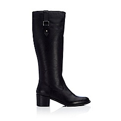 Wallis - Black high leg leather boot with buckle