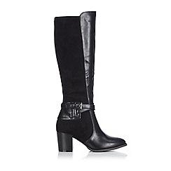 Wallis - Black mixed material buckle knee high boot