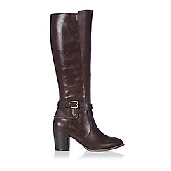 Wallis - Brown mixed material buckle high leg boot