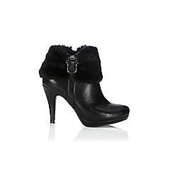 Wallis - Black fur cuff platform boot
