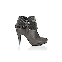 Wallis - Grey fur cuff platform boot