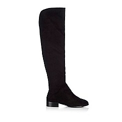 Wallis - Black over the knee suedette flat boot