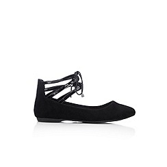Wallis - Black ankle lace up point ballerina shoe