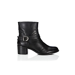 Wallis - Black strap and buckle leather ankle boot