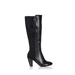 Wallis - Black mixed material high knee boot