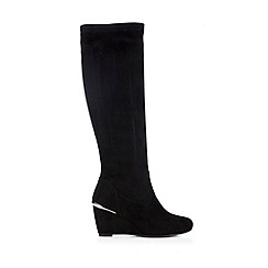 Wallis - Black high leg wedge boot