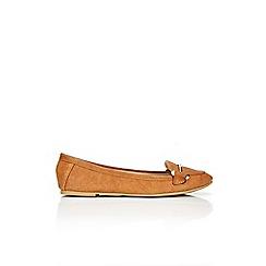 Wallis - Camel round toe ballerina shoe