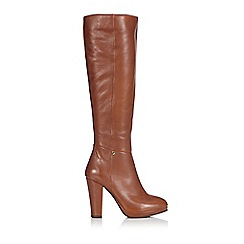 Wallis - Tan suedette knee high platform boot
