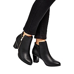 Wallis - Black mid heel zip side boot
