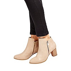 Wallis - Stone mid heel zip ankle boot