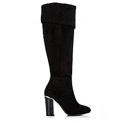 Wallis - Black fold croc heel knee high boot