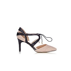 Wallis - Black and taupe lace court shoe