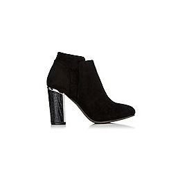 Wallis - Black croc block heel ankle boot
