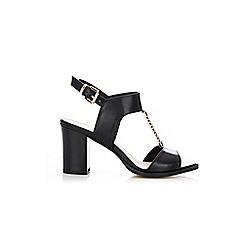Wallis - Black trim heeled t-bar sandals
