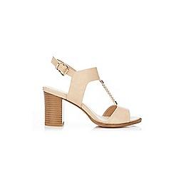 Wallis - Beige trim heeled t-bar sandals
