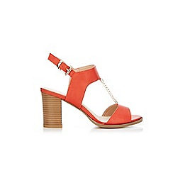 Wallis - Orange trim heeled t-bar sandals