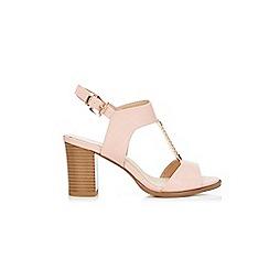 Wallis - Pale pink trim heeled t-bar sandals