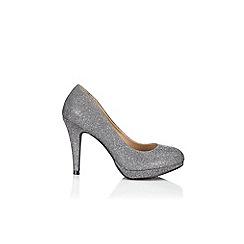 Wallis - Silver glitter platform heel