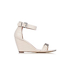Wallis - Ivory metal trim ankle strap wedge
