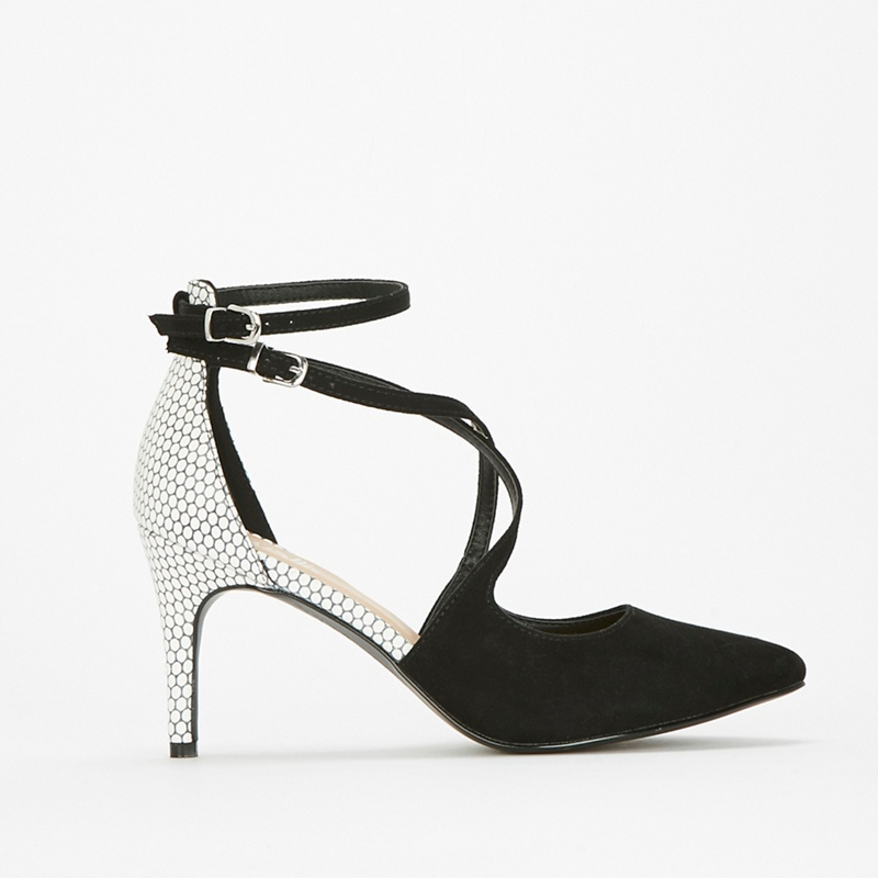 ef3e39225743 Wallis - Monochrome Cross Strap Court Shoes
