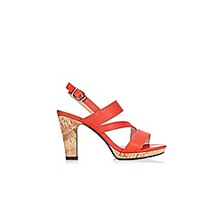 Wallis - Orange asymmetric platform sandals