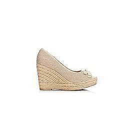 Wallis - Stone espadrille peep toe wedges