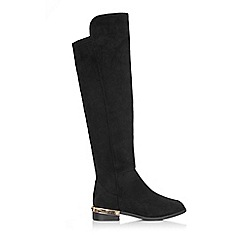 Wallis - Black metal insert high leg boot
