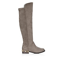 Wallis - Grey metal insert high leg boot