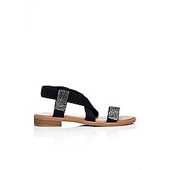 Wallis - Black diamante strap flat sandal