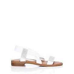 Wallis - White diamante strap flat sandal