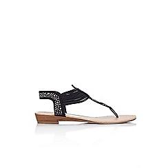 Wallis - Black embellished flat sandal