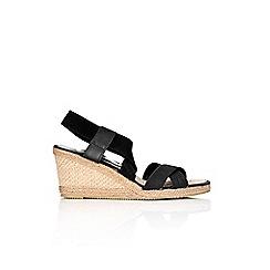 Wallis - Black cross over wedge sandal