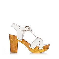 Wallis - White t-bar clog heel