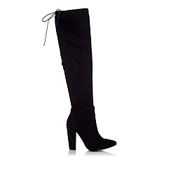 Wallis - Black over the knee suede point boot