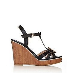 Wallis - Black platform wedge sandal