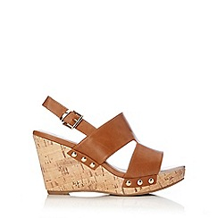 Wallis - Tan studded wedge sandal