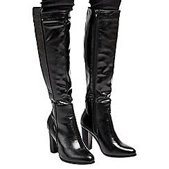 Wallis - Black high leg tab boot