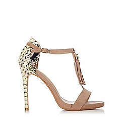 Wallis - Tan tassle t-bar sandal