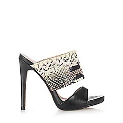 Wallis - 2 band black heeled mule