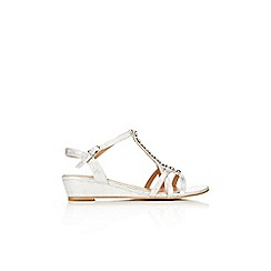 Wallis - White gold bead trim sandal