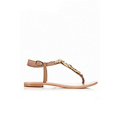 Wallis - Tan leather embellished sandal