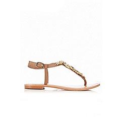 Wallis - Tan leather embellished sandal