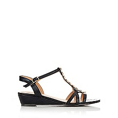 Wallis - Black gold bead trim sandal