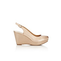 Wallis - Gold slingback wedge sandal