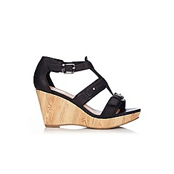 Wallis - Black strappy wedge sandal
