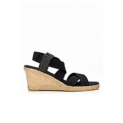 Wallis - Black strap wedge shoe