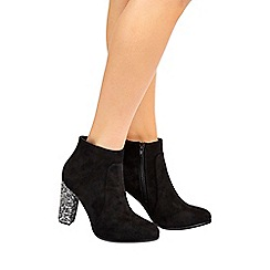 Wallis - Black glitter heel ankle boot