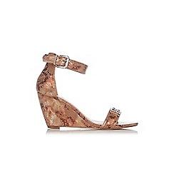 Wallis - Bronze metal trim ankle strap wedge